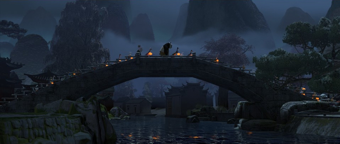Midground and background Matte Painting. Maya lit, textured and projected on geometry. Vue terrain. Photoshop Painted.
