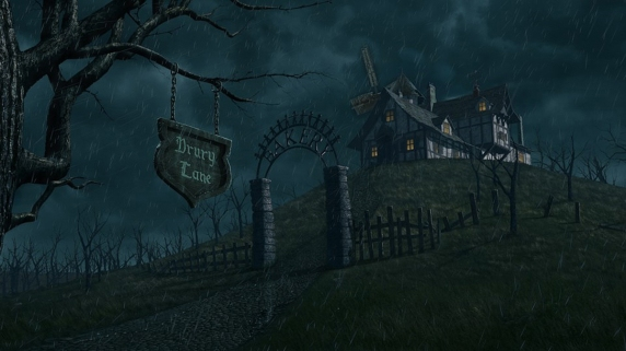 All matte painting except Drury Lane sign, rain, and windmill. Photoshop painted and Maya textured and projected on geometry.