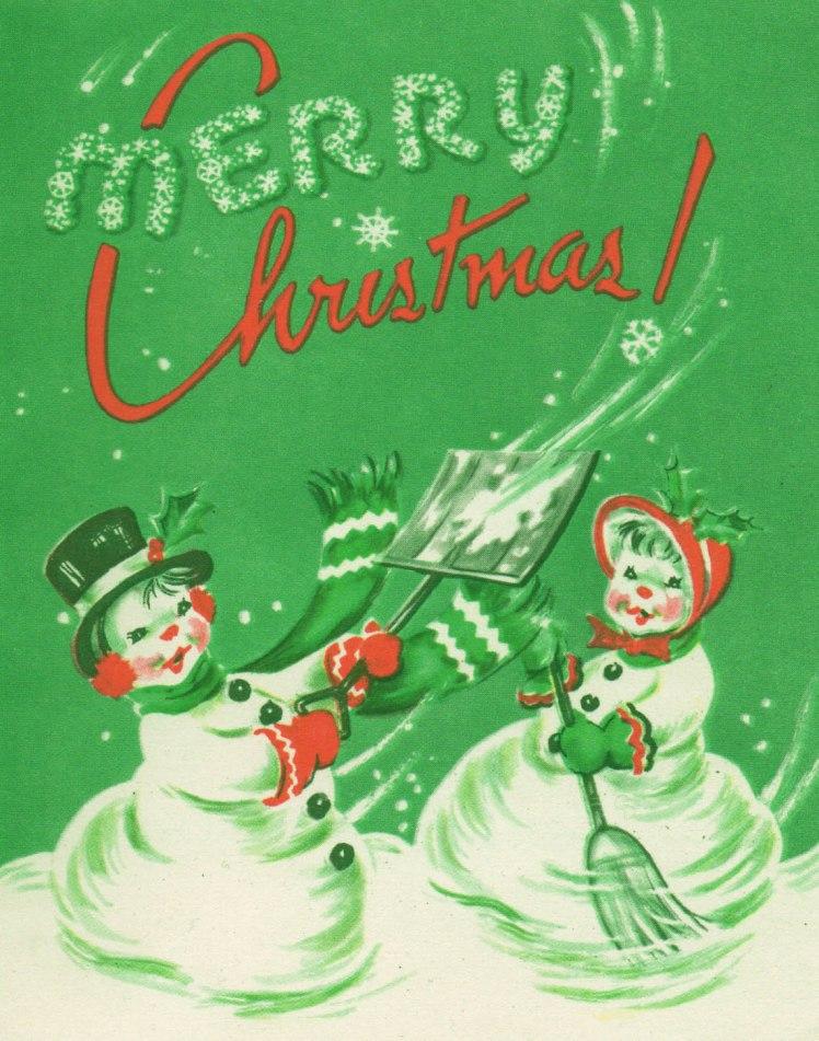 free vintage printable - retro christmas snowman